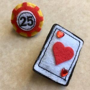 2 Poker Card Night Gambling Felt Brooch Pin Set